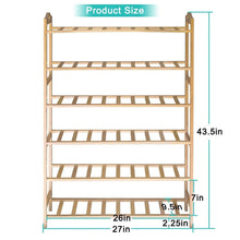 Load image into Gallery viewer, Top rated anko bamboo shoe rack natural bamboo thickened 6 tier mesh utility entryway shoe shelf storage organizer suitable for entryway closet living room bedroom 1 pack