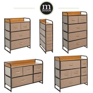 Shop for mdesign wide dresser storage chest sturdy steel frame wood top easy pull fabric bins organizer unit for bedroom hallway entryway closet textured print 7 drawers coffee espresso brown