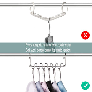 Shop meetu space saving hangers magic wonder cloth hanger metal closet organizer for closet wardrobe closet organization closet system pack of 20
