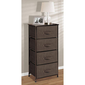 Online shopping mdesign vertical dresser storage tower sturdy steel frame wood top easy pull fabric bins organizer unit for bedroom hallway entryway closets textured print 4 drawers espresso brown
