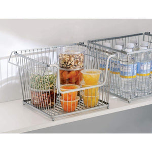 Get mdesign modern stackable metal storage organizer bin basket with handles open front for kitchen cabinets pantry closets bedrooms bathrooms large 3 pack silver