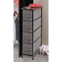 Load image into Gallery viewer, Save on mdesign narrow vertical dresser storage tower sturdy metal frame wood top easy pull fabric bins organizer unit for bedroom hallway entryway closet textured print 4 drawers charcoal gray