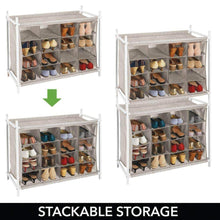 Load image into Gallery viewer, Order now mdesign soft fabric shoe rack holder organizer 16 cube storage shelf for closet entryway mudroom garage kids playroom metal frame easy assembly closet organization linen white