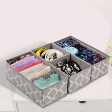 Load image into Gallery viewer, Heavy duty foldable cloth storage box closet dresser drawer organizer cube basket bins containers divider with drawers for underwear bras socks ties scarves set of 6 light coffee with white lantern pattern