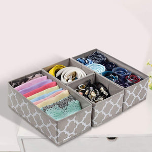 Heavy duty foldable cloth storage box closet dresser drawer organizer cube basket bins containers divider with drawers for underwear bras socks ties scarves set of 6 light coffee with white lantern pattern