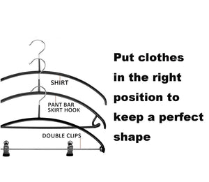 Cheap russell 6 pack slip reducing contour shirt hangers with 2 clips bump free clothes hanger and closet organizer the dimple crease free hanger solution black