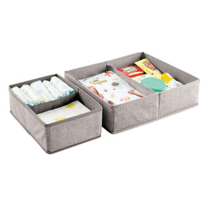 Great mdesign soft fabric dresser drawer and closet storage organizer set for child kids room nursery playroom bedroom rectangular organizer bins with textured print set of 6 linen tan