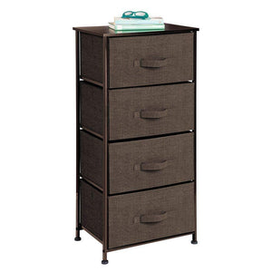 On amazon mdesign vertical dresser storage tower sturdy steel frame wood top easy pull fabric bins organizer unit for bedroom hallway entryway closets textured print 4 drawers espresso brown