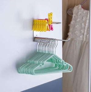 Featured wall mounted clothes hanger organizer stainless steel hanger storage rack closet space saving self adhesive no need nails