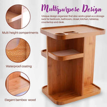 Load image into Gallery viewer, Home refine 360 bamboo cosmetic organizer multi function storage carousel for your vanity bathroom closet kitchen tabletop countertop and desk