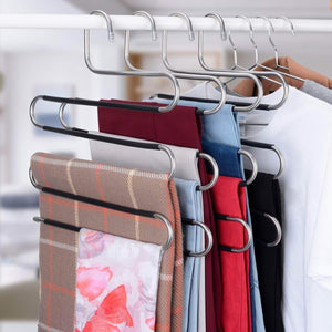 Buy now ieoke pant hangers durable slack hangers multi layers stainless steel space saving clothes hangers closet storage for jeans trousers 4 pack