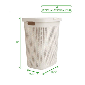 Home mind reader 50hamp ivo 50 liter hamper laundry basket with cutout handles washing bin dirty clothes storage bathroom bedroom closet ivory