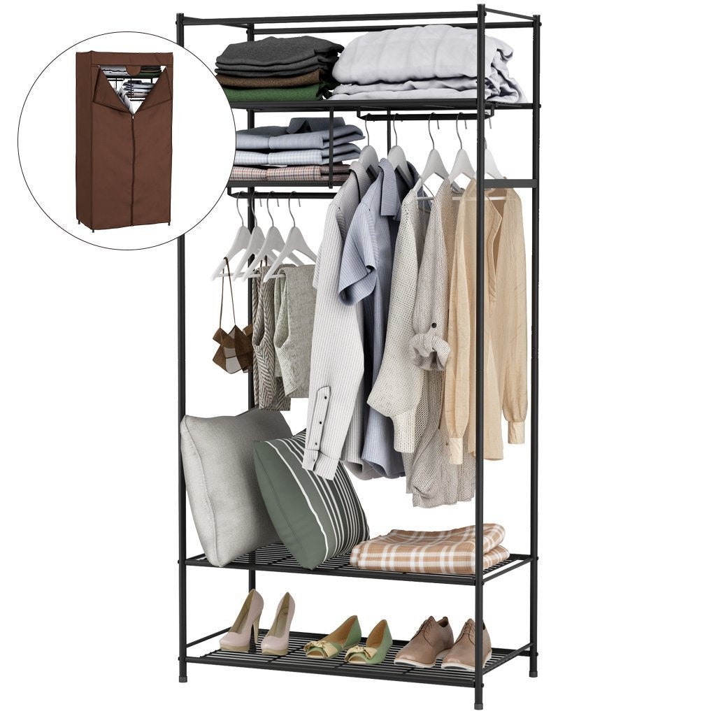 Featured langria heavy duty zip up closet shoe organizer with detachable brown cloth cover wardrobe metal storage clothes rack armoire with 4 shelves and 2 hanging rods max load 463 lbs