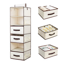 Load image into Gallery viewer, Shop here storageworks 6 shelf hanging dresser foldable closet hanging shelves with 2 magic drawers 1 underwear socks drawer 42 5h x 13 6w x 12 2d