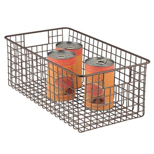 Discover mdesign farmhouse decor metal wire food organizer storage bin basket with handles for kitchen cabinets pantry bathroom laundry room closets garage 16 x 9 x 6 in 4 pack bronze