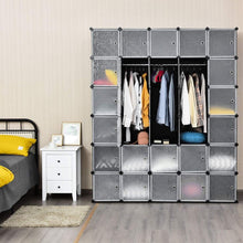 Load image into Gallery viewer, Discover tangkula cube storage organizer cube closet storage shelves diy plastic pp closet cabinet modular bookcase large storage shelving with doors for bedroom living room office 30 cube