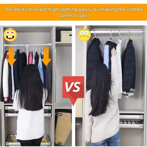 Budget gimify pull down closet rod wardrobe lift organizer storage systerm hanger rod for hanging clothes space saving aluminum adjustable 32 68 42 28inch