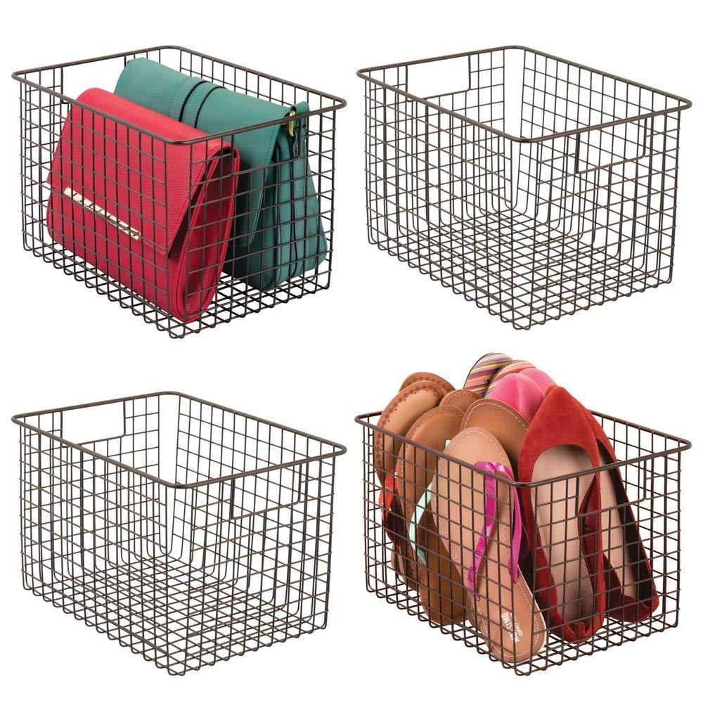 Top rated mdesign large farmhouse deco metal wire storage organizer basket bin with handles for organizing closets shelves and cabinets in bedrooms bathrooms entryways hallways 8 high 4 pack bronze
