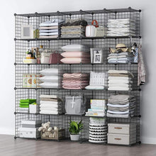 Load image into Gallery viewer, Shop yozo modular wire cube storage wardrobe closet organizer metal rack book shelf multifuncation shelving unit 25 cubes depth 14 inches black