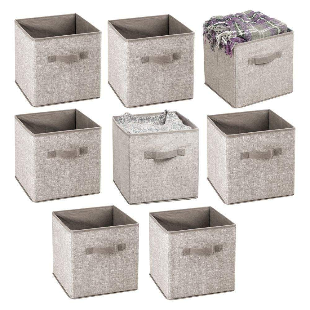 Budget friendly mdesign small soft fabric closet organizer cube bin box front handle storage for closet bedroom furniture shelving units textured print 11 high 8 pack linen tan