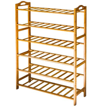 Load image into Gallery viewer, Shop here anko bamboo shoe rack natural bamboo thickened 6 tier mesh utility entryway shoe shelf storage organizer suitable for entryway closet living room bedroom 1 pack