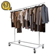 Load image into Gallery viewer, Buy bigroof clothing rack 6 3ft heavy duty clothes rack free standing garment rack on wheels commercial portable closet jacket coat rack rolling drying racks for hanging drying clothes