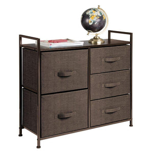 Online shopping mdesign wide dresser storage tower sturdy steel frame wood top easy pull fabric bins organizer unit for bedroom hallway entryway closets textured print 5 drawers espresso brown