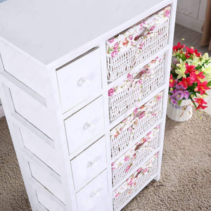 Heavy duty durable dresser storage tower 5 drawers with wicker baskets sturdy frame wood top easy pulling organizer unit for bedroom hallway entryway closet white