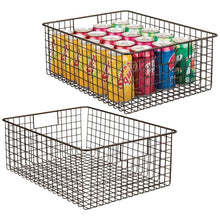 Load image into Gallery viewer, Budget mdesign farmhouse decor metal wire food organizer storage bin baskets with handles for kitchen cabinets pantry bathroom laundry room closets garage 2 pack bronze