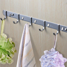 Load image into Gallery viewer, Purchase tiang hook rail coat rack with 5 hooks wall mounted adhesive satin finish hook rack hanger set of 2 15 inch stainless steel hook rack organizer for hat clothes bathroom towels closet door kitchen