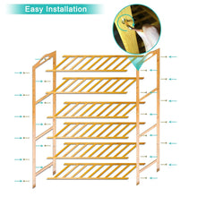 Load image into Gallery viewer, Storage organizer anko bamboo shoe rack natural bamboo thickened 6 tier mesh utility entryway shoe shelf storage organizer suitable for entryway closet living room bedroom 1 pack