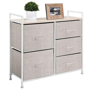 Budget mdesign wide dresser storage tower sturdy steel frame wood top easy pull fabric bins organizer unit for bedroom hallway entryway closets textured print 5 drawers linen tan