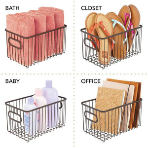 Budget friendly mdesign metal farmhouse kitchen pantry food storage organizer basket bin wire grid design for cabinets cupboards shelves countertops closets bedroom bathroom 10 long 4 pack bronze