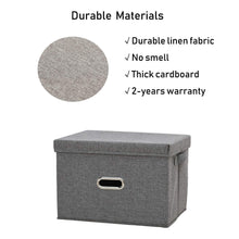 Load image into Gallery viewer, Shop here polecasa storage bins with lid 2 pack removable lid collapsible stackable linen fabric storage cubes boxes containers organizer basket for home office bedroom closet and shelveslarge 38l