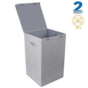 Shop cleebourg large laundry clothes hamper foldable laundry hamper with lid and handles easily transport laundry dirty clothes basket grey hamper for closet bathroom dorm 90l