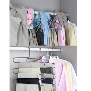 Storage doiown pants hangers s shape stainless steel clothes hangers space saving hangers closet organizer for pants jeans scarf5 layers 10pcs