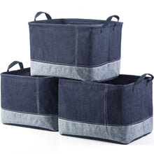 Load image into Gallery viewer, Storage iflower storage bin basket decorative laundry basket storage cube bin organizer with handle for nursery playroom closet clothes baby toy jean 3pcs