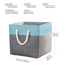 Load image into Gallery viewer, Related prandom large foldable cube storage baskets bins 13x13 inch 3 pack fabric linen collapsible storage bins cubes drawer with cotton handles organizer for shelf toy nursery closet bedroomgray blue