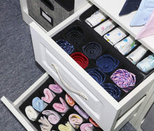 Load image into Gallery viewer, Discover the onlyeasy closet underwear organizer drawer divider set of 4 foldable cloth storage boxes bins under bed organizer for bras socks panties ties linen like black mxass4p