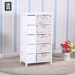 Explore durable dresser storage tower 5 drawers with wicker baskets sturdy frame wood top easy pulling organizer unit for bedroom hallway entryway closet white