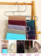 Load image into Gallery viewer, Amazon lef 3 pack s type stainless steel hangers for space consolidation scarfs closet storage organizer for pants jeans ties belts towels