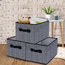 Load image into Gallery viewer, Exclusive homyfort cloth collapsible storage bins cubes 15 7x11 8x9 8 linen fabric basket box cubes containers organizer for closet shelves with leather handles set of 3 grey