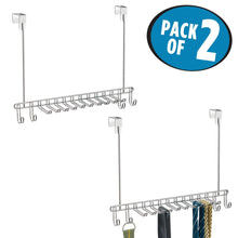 Load image into Gallery viewer, Order now mdesign metal over door hanging closet storage organizer rack for mens and womens ties belts slim scarves accessories jewelry 4 hooks and 10 vertical arms on each 2 pack chrome