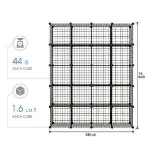 Storage kousi wire storage cubes modular metal cubbies organizer customizable metal rack cloths closet cubes storage shelves multifuncation shelving unit 8 cubes 4 hanging sections