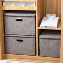 Load image into Gallery viewer, Shop here prandom large collapsible storage bins with lids 3 pack linen fabric foldable storage boxes organizer containers baskets cube with cover for home bedroom closet office nursery 17 7x11 8x11 8