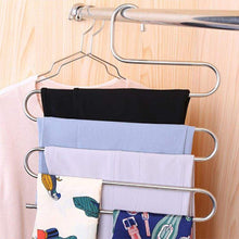 Load image into Gallery viewer, Try 6 pack pants hangers s type closet organizer stainless steel multi layers magic hanger space saver clothes rack tiered hanging storage for jeans scarf skirt 14 17 x 14 96 inch