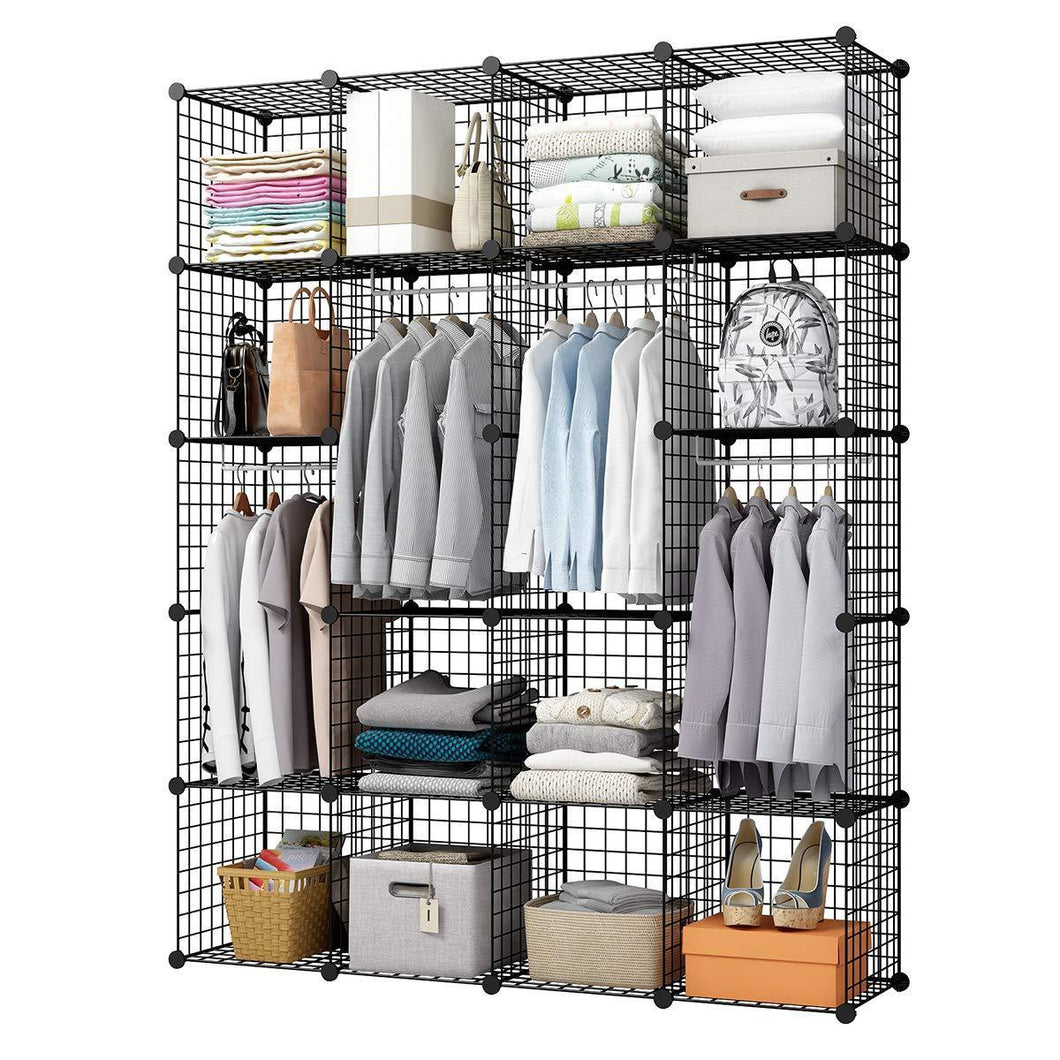 Selection kousi wire storage cubes modular metal cubbies organizer customizable metal rack cloths closet cubes storage shelves multifuncation shelving unit 8 cubes 4 hanging sections