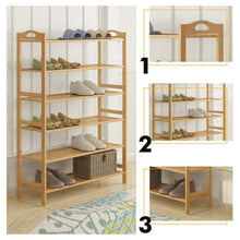 Load image into Gallery viewer, Amazon best gx xd simple multi layer bamboo shoe rack dust proof multifunction shoe tower shoe cabinet space saving easy to assemble shoe organizer unit entryway shelf organize your closet cabinet or entryway r