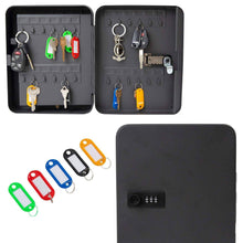 Load image into Gallery viewer, Purchase houseables key lock box lockbox cabinet wall mount safe 7 9 w x 9 9 l 48 tags black metal combination code locker storage organizer outdoor keybox closet for realtor real estate office