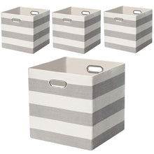 Load image into Gallery viewer, Heavy duty posprica storage bins storage cubes 13 13 fabric storage boxes baskets containers drawers for nurseries offices closets home decor 4pcs grey white striped